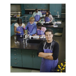 Hispanic student standing in chemistry lab poster