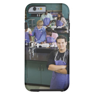 Hispanic student standing in chemistry lab tough iPhone 6 case