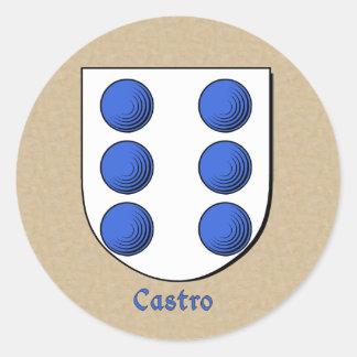 Hispanic Surname Castro Family Shield Stickers