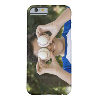 Hispanic teenage boy covering eyes with barely there iPhone 6 case