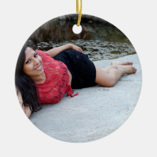 Hispanic Woman Creek Double-Sided Ceramic Round Christmas Ornament