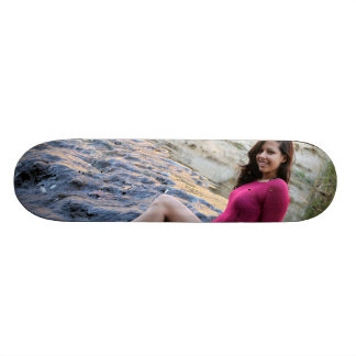 Hispanic Woman Creek Skateboard