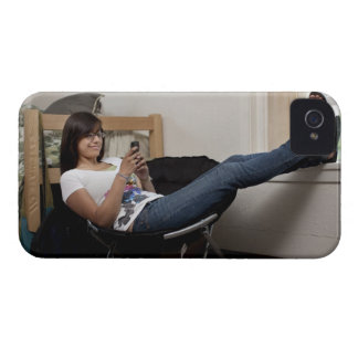 Hispanic woman hanging out in college dorm room iPhone 4 cases