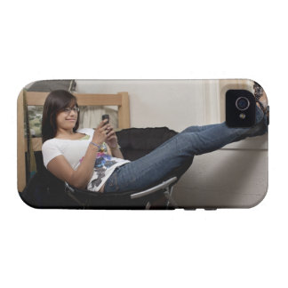 Hispanic woman hanging out in college dorm room vibe iPhone 4 covers
