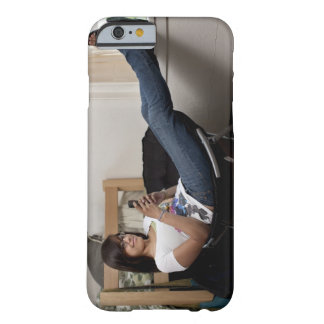 Hispanic woman hanging out in college dorm room barely there iPhone 6 case