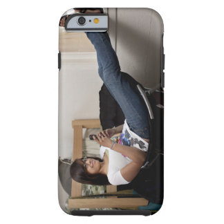 Hispanic woman hanging out in college dorm room tough iPhone 6 case