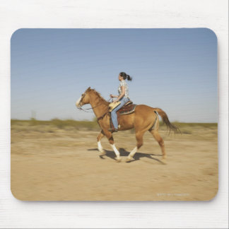 Hispanic woman riding horse 2 mouse pad