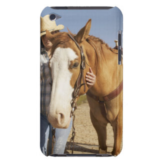 Hispanic woman standing next to horse barely there iPod case