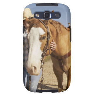 Hispanic woman standing next to horse galaxy s3 cover