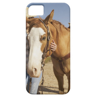 Hispanic woman standing next to horse iPhone SE/5/5s case