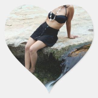 Hispanic Woman Waterfall Heart Sticker