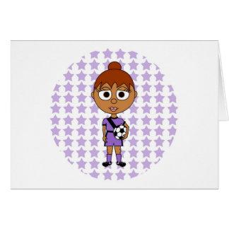 Hispanico de la púrpura de la estrella de fútbol d tarjeta de felicitación