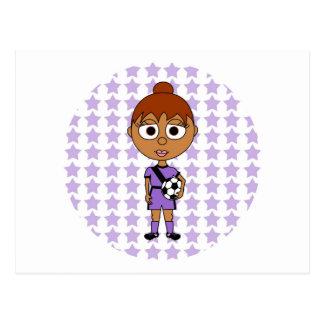 Hispanico de la púrpura de la estrella de fútbol tarjeta postal