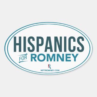 Hispanico para Mitt Romney 2012 (pegatina oval) Pegatina Ovalada