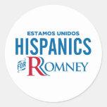 Hispanico para Romney Etiqueta Redonda