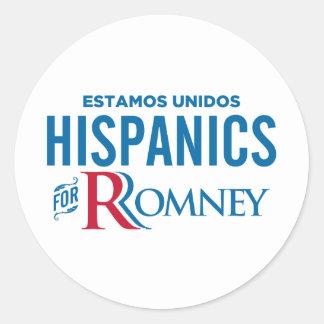 Hispanico para Romney Pegatina Redonda