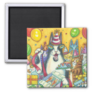 Hiss N' Fitz Cat BIRTHDAY MAGNET Square *Customize