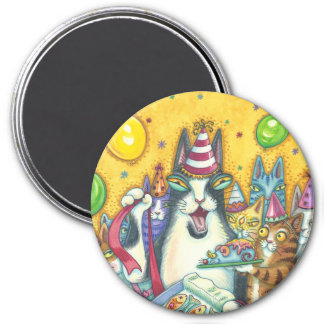Hiss N' Fitz Cats BIRTHDAY MAGNET Round *Customize