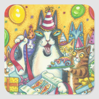 Hiss N' Fitz Cats BIRTHDAY STICKERS Square