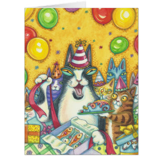 Hiss N' Fitz Cats HAPPY BIRTHDAY CARD Large
