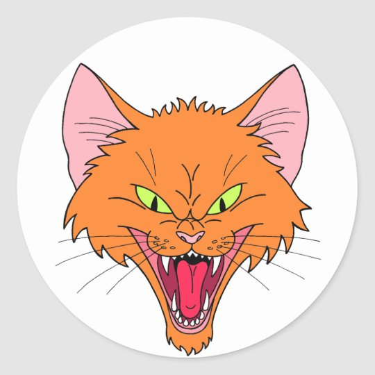 Hissing Cat Classic Round Sticker