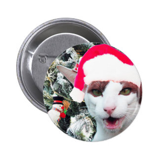 Hissing Cat in a Santa Hat Button