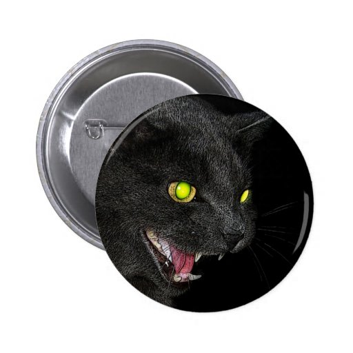 Hissing Grey Cat button