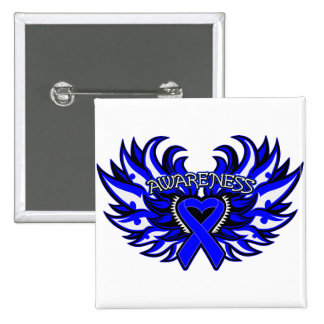 Histiocytosis Awareness Heart Wings Pinback Buttons