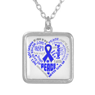 Histiocytosis Awareness Heart Words Square Pendant Necklace