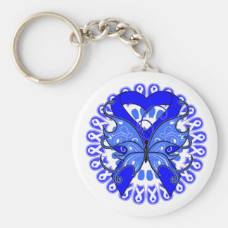 Histiocytosis Butterfly Circle of Ribbons Basic Round Button Keychain