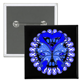 Histiocytosis Butterfly Circle of Ribbons 2 Inch Square Button