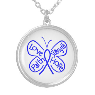 Histiocytosis Butterfly Inspiring Words Round Pendant Necklace