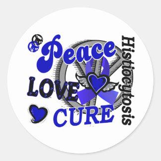 Histiocytosis de la curación 2 del amor de la paz pegatina redonda