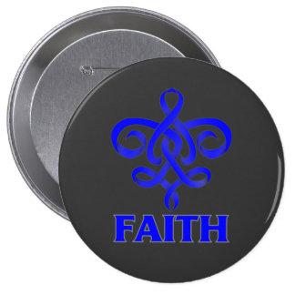 Histiocytosis Faith Fleur de Lis Ribbon Button