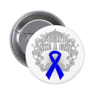 Histiocytosis Fight Like A Girl Fleurish Pinback Button