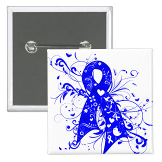 Histiocytosis Floral Swirls Ribbon 2 Inch Square Button