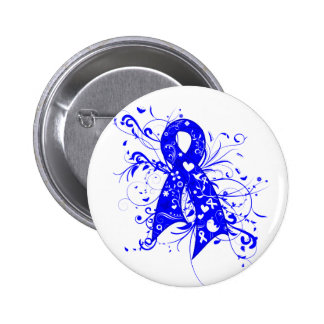 Histiocytosis Floral Swirls Ribbon Pinback Button