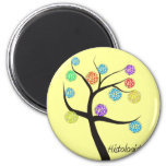 Histologist Tree Design Microscopic Cell Leaves 2 Inch Round Magnet