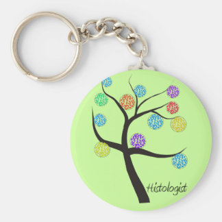 Histologist Tree Design Microscopic Cell Leaves Keychain