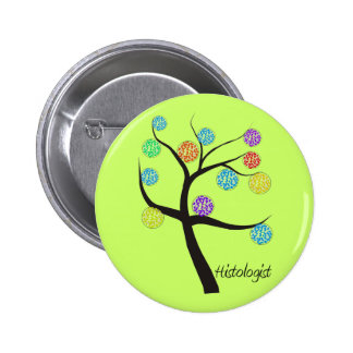 Histologist Tree Design Microscopic Cell Leaves Pinback Button