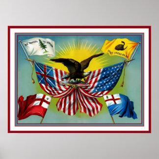 Historia 1885 del vintage del poster de las bander