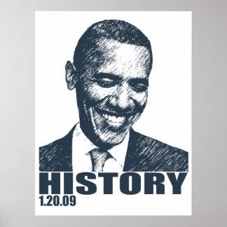 Historia 1/20/09 de la inauguración de Obama Póster