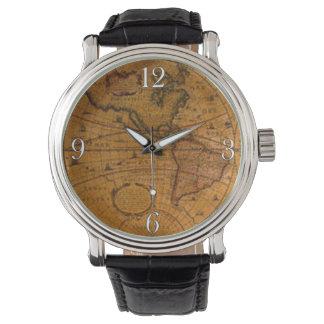 Historia-amante del mapa de Viejo Mundo del Reloj
