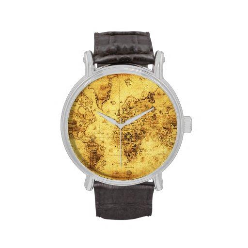Historia-amante del mapa de Viejo Mundo del vintag Reloj De Mano