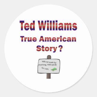 Historia americana verdadera de Ted Williams Pegatina Redonda