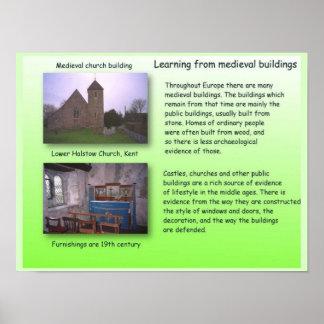 Historia, aprendiendo de edificios medievales póster