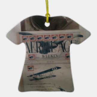Historia de la aviación de la letra del vintage adorno de cerámica en forma de camiseta