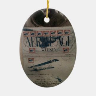 Historia de la aviación de la letra del vintage adorno ovalado de cerámica