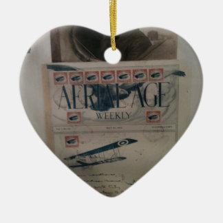 Historia de la aviación de la letra del vintage adorno de cerámica en forma de corazón