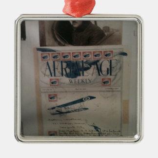 Historia de la aviación de la letra del vintage adorno cuadrado plateado